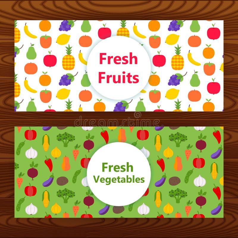 Świezi owoc i warzywo sieci sztandary na drewnianej teksturze ilustracji