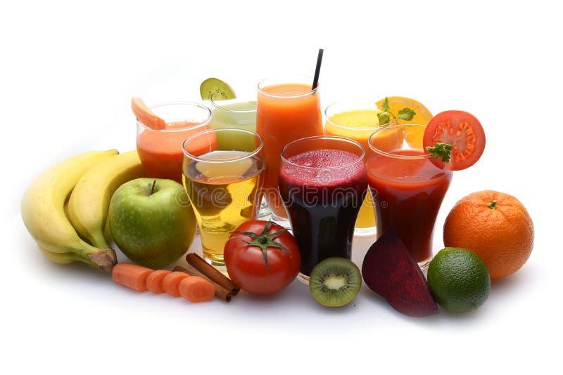 Świezi owoc i warzywo soki fotografia stock