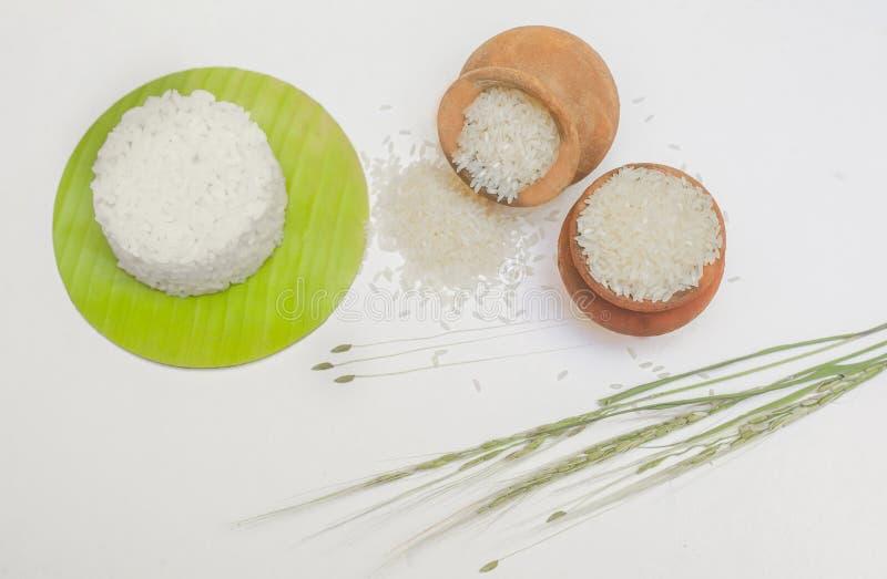 Świezi ryż z bananowym liściem obrazy stock