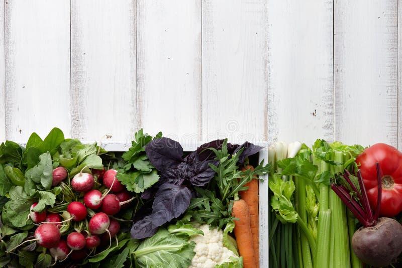 Świezi warzywa i ziele w drewnianym pudełku obrazy royalty free