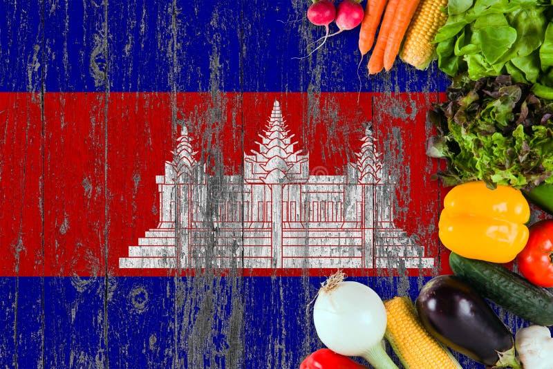 ?wiezi warzywa od Kambod?a na stole Kulinarny poj?cie na drewnianym chor?gwianym tle obrazy royalty free