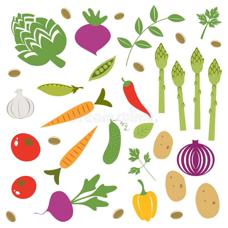 Świezi warzywa ustawiający ilustracja wektor