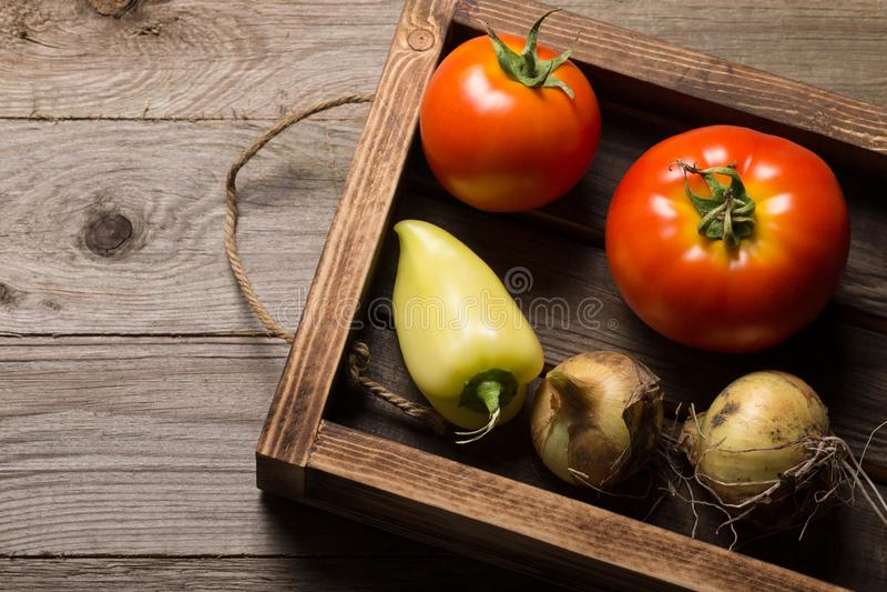 Świezi warzywa w palącej nieociosanej teksturze boksują dla tła Szorstka wietrzej?ca drewniana deska zdjęcie stock