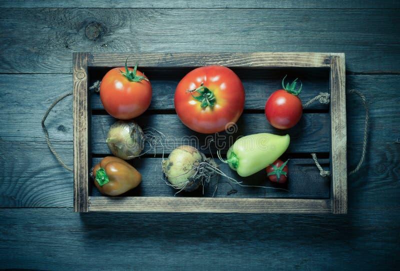 Świezi warzywa w palącej nieociosanej teksturze boksują dla tła Szorstka wietrzej?ca drewniana deska stonowany obrazy stock