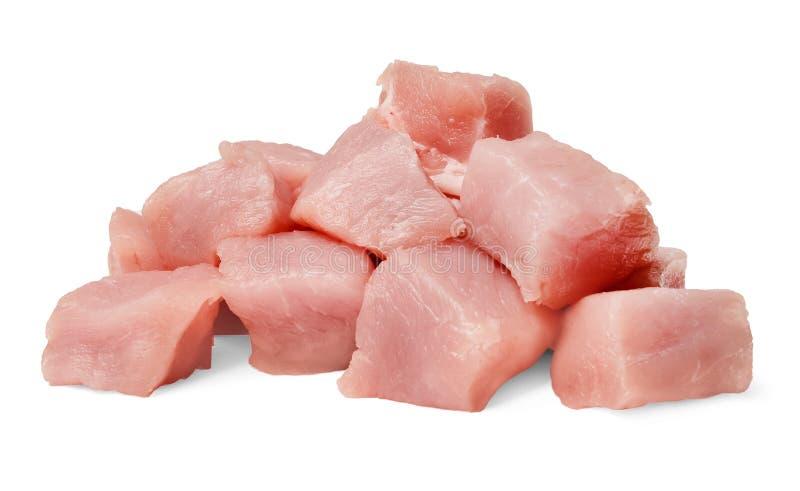 ?wiezi wieprzowina plasterki odizolowywaj?cy na bielu Zako?czenie obraz stock