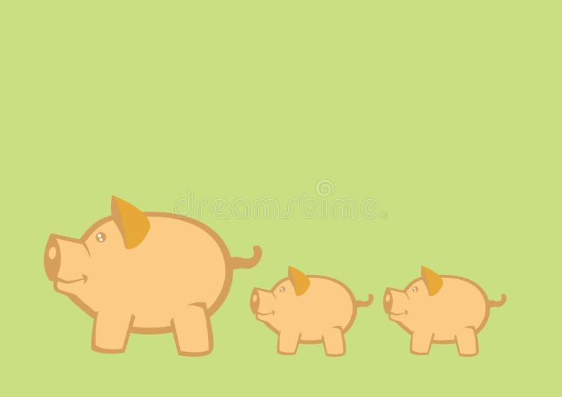 Świni i prosiaczków wektoru ilustracja royalty ilustracja