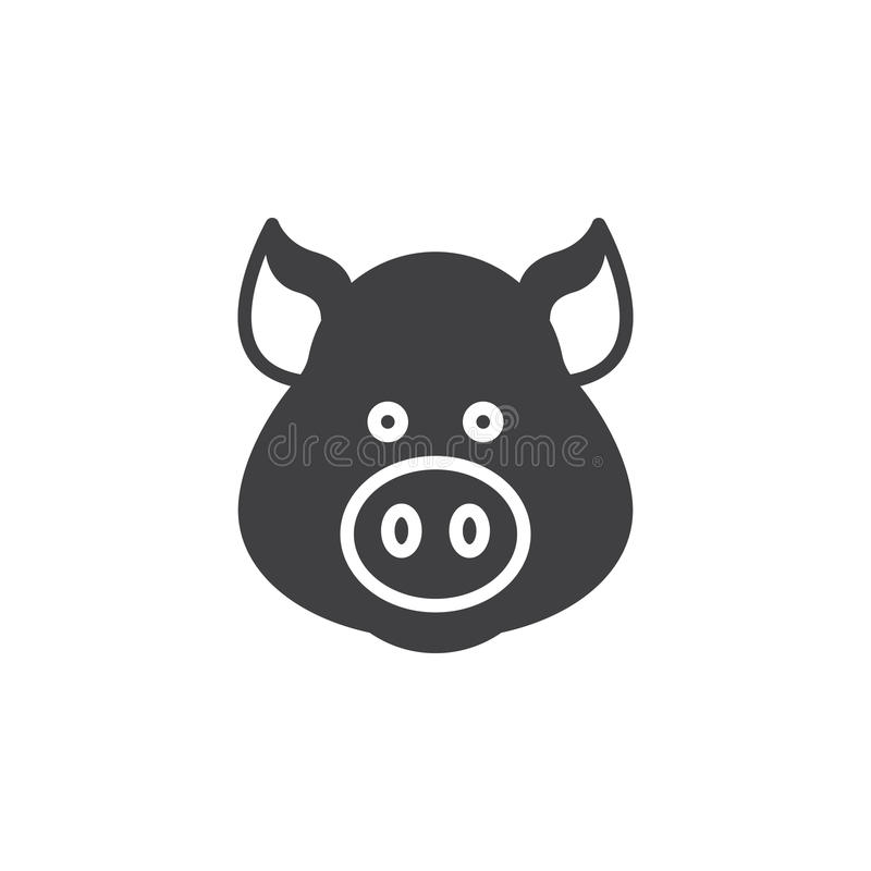 Świni ikony kierowniczy wektor, wypełniający mieszkanie znak royalty ilustracja
