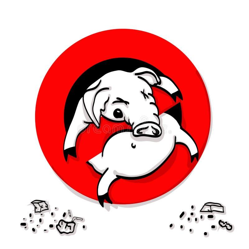 Świni kreskowa ikona w prohibicja czerwonym okręgu, Żadny śmiecić zakazu znak, zakazujący symbol ilustracja wektor