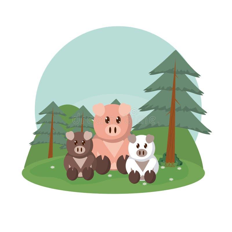 Świni zwierząt rodzinne śliczne kreskówki royalty ilustracja