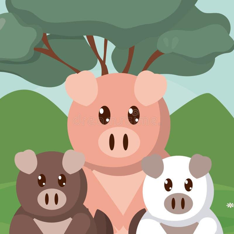 Świni zwierząt rodzinne śliczne kreskówki ilustracja wektor