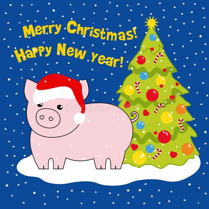 Świnia jest symbolem rok w kapeluszu Santa blisko choinki Rysujący, wektorowa ilustracja ilustracji