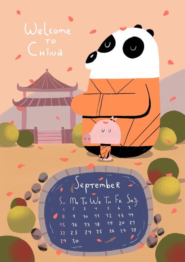 Świnia kalendarz dla 2019 świnie ilustracyjne ilustracji