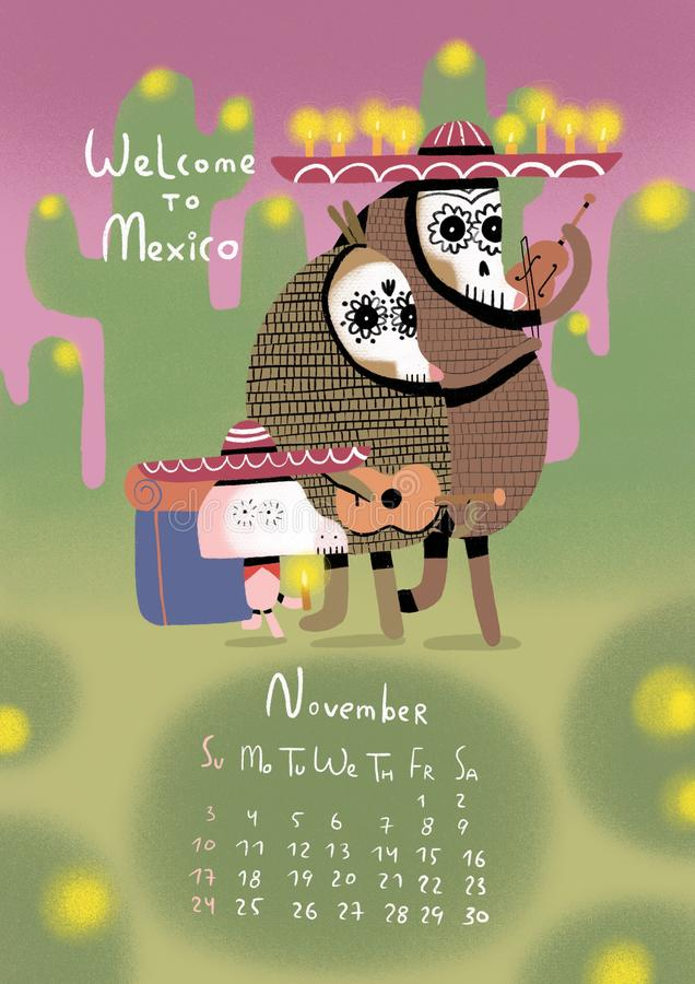 Świnia kalendarz dla 2019 świnie ilustracyjne royalty ilustracja