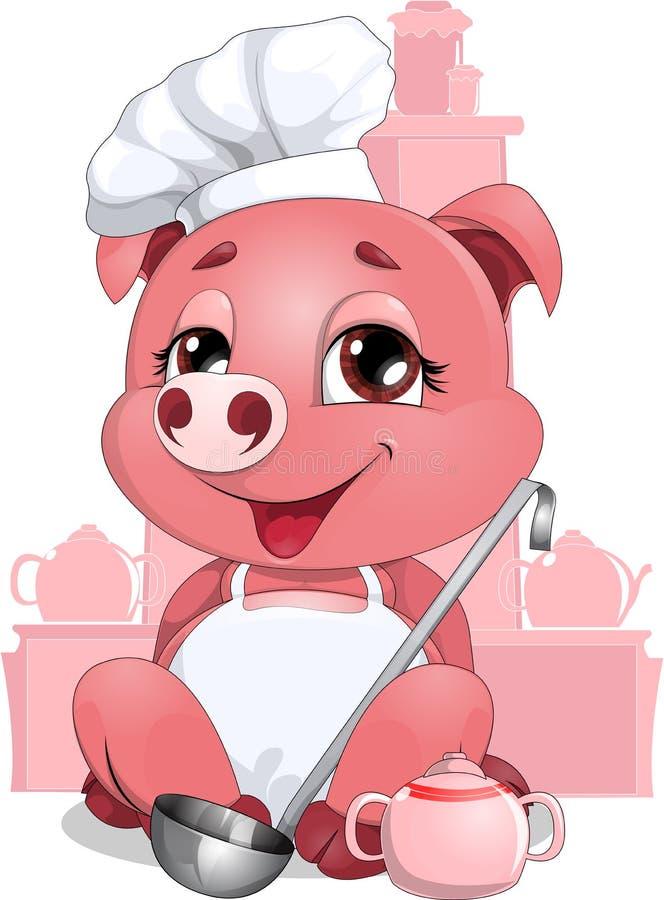 Świnia kucharz ilustracji