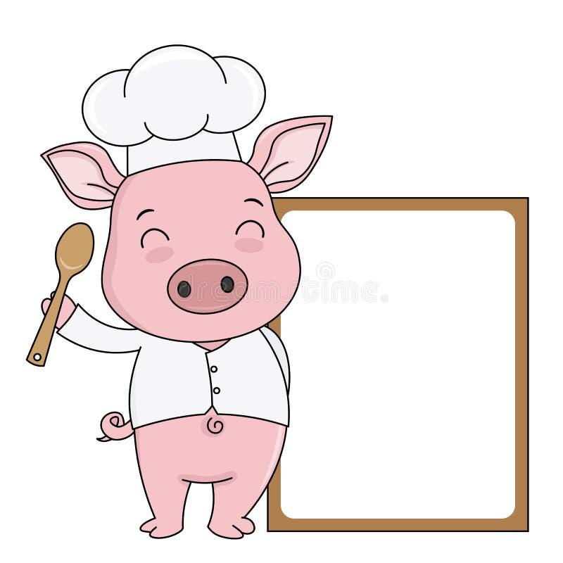 Świnia kucharz z puste miejsce ramą dla teksta ilustracja wektor