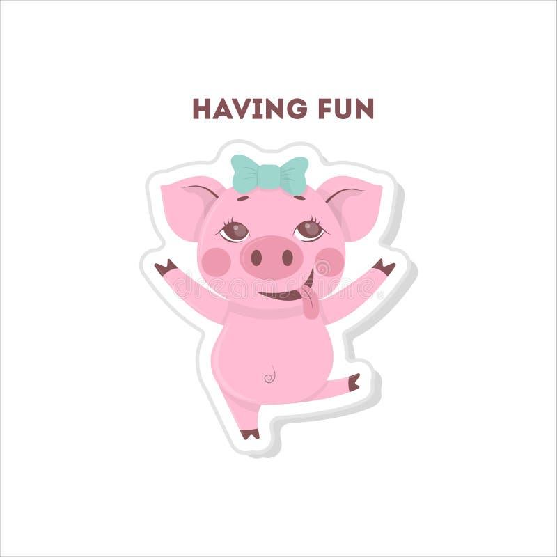 Świnia ma zabawę ilustracja wektor