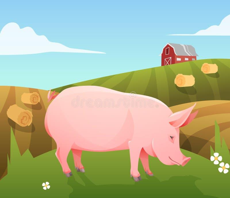 Świnia na gospodarstwie rolnym ilustracja wektor