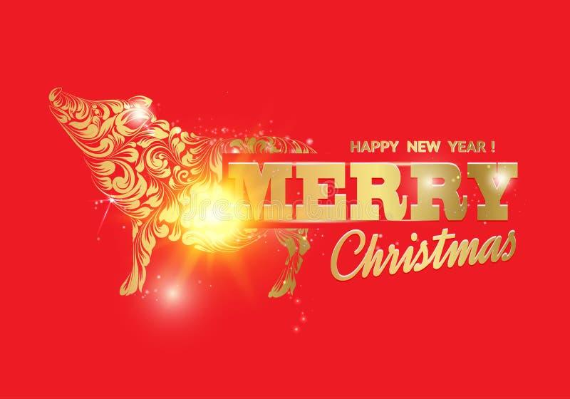 Świnia - nowego roku symbol 2019 Wesoło kartka bożonarodzeniowa nad czerwonym tłem z złotym prosiaczkiem Teksta szyldowy Wesoło royalty ilustracja