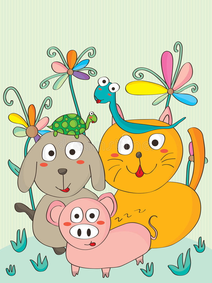 Świnia Psi kot royalty ilustracja