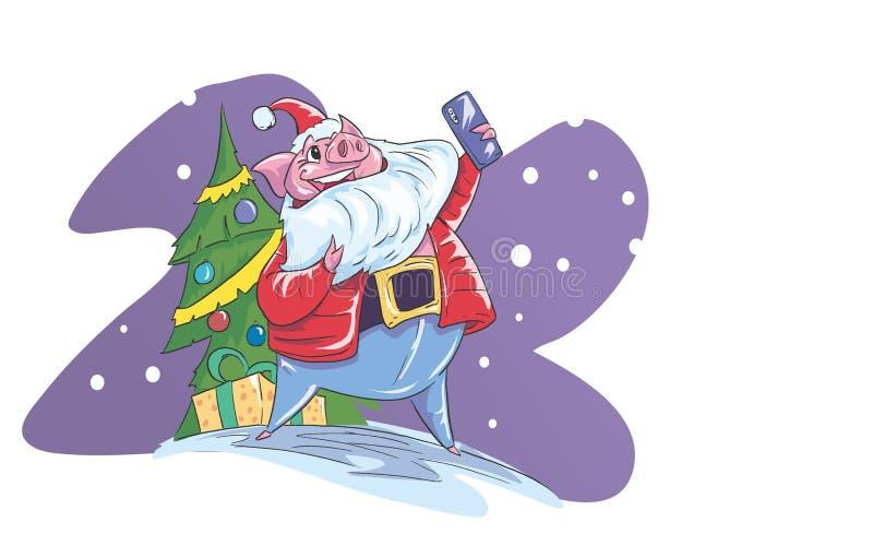 Świnia robi selfy z jego smartphone ilustracja wektor
