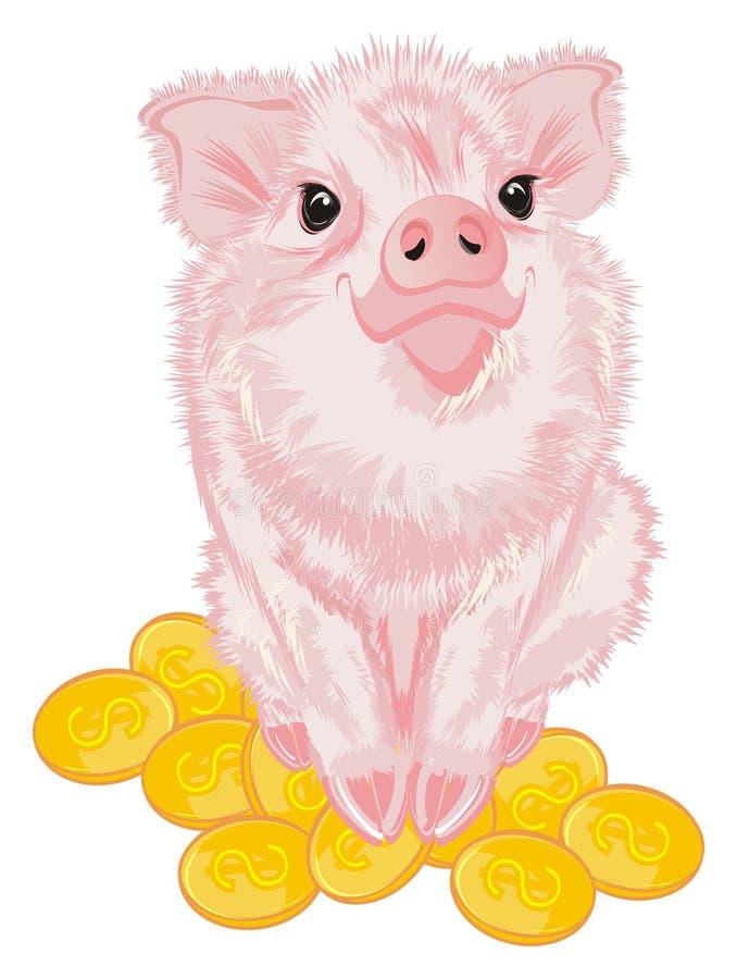 Świnia siedzi wierzchołek na pieniądze ilustracja wektor