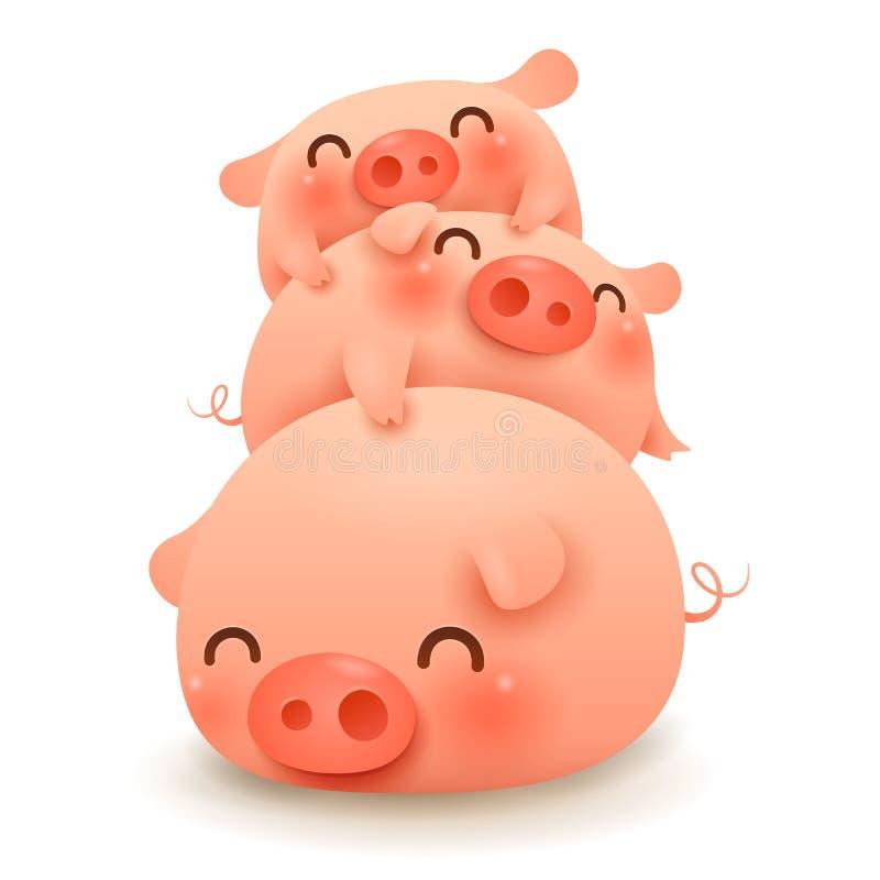 Świnia stos małe świnie trzy royalty ilustracja