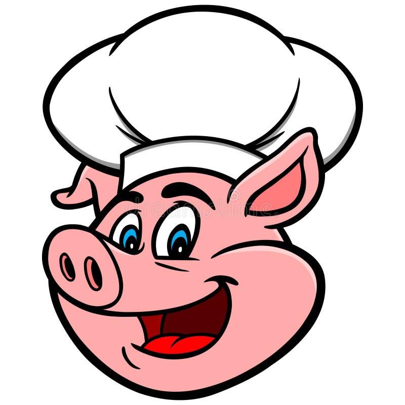 Świnia z szefa kuchni kapeluszem royalty ilustracja