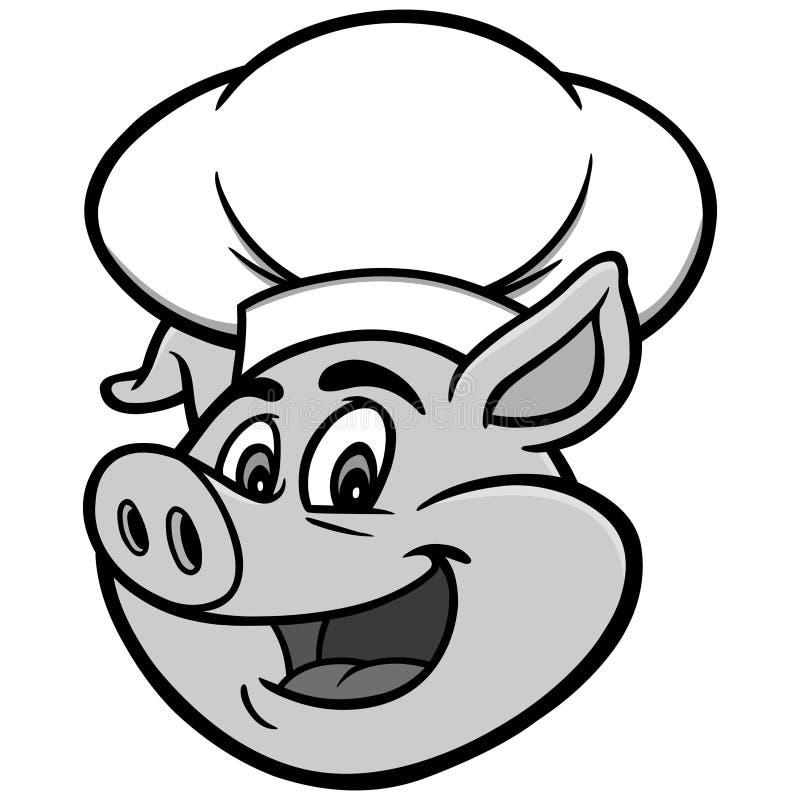 Świnia z szefa kuchni kapeluszu ilustracją royalty ilustracja
