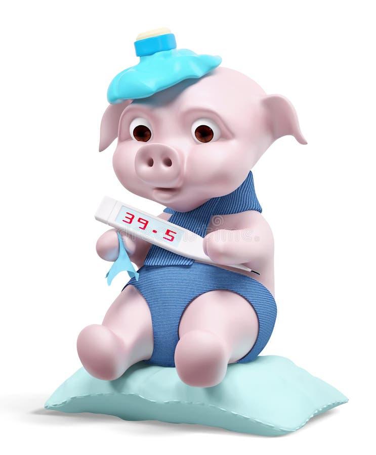 Świnia z termometr chlewni grypy pojęcia 3d renderingiem royalty ilustracja