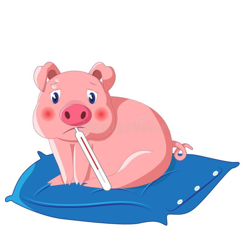 Świnia z therometer ma grypę royalty ilustracja