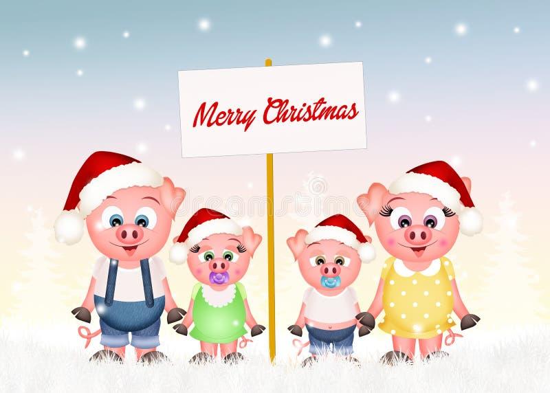 Świnie świętują boże narodzenia ilustracja wektor