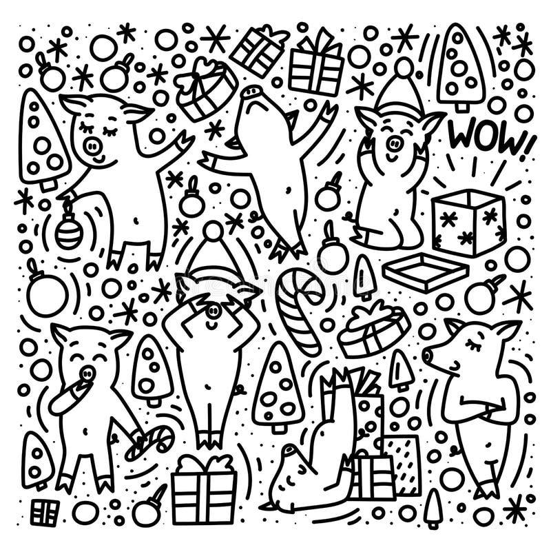 Świnie świętują zima wakacje - boże narodzenia i nowy rok Doodle stylu ręka rysujący pojęcie Śliczni zwierzęta dekorują jedliny ilustracja wektor
