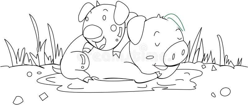 świnie dwa ilustracja wektor