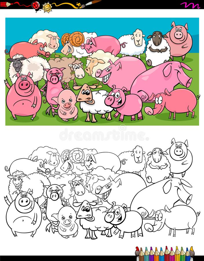 Świnie i barania charakter grupy koloru książka ilustracji