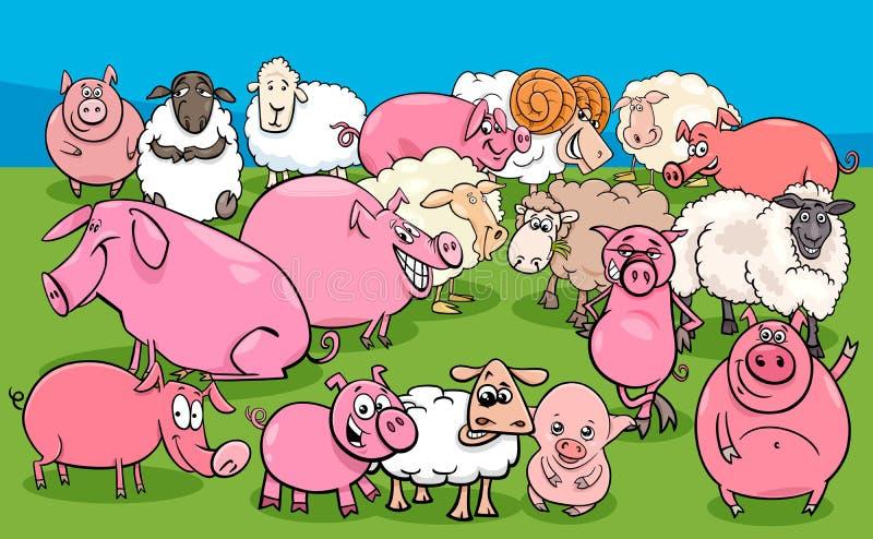 Świnie i barania zwierzęta gospodarskie charakterów grupa ilustracji