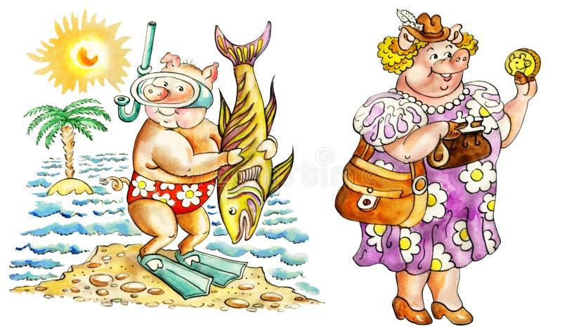 Świnie na wakacje ilustracji