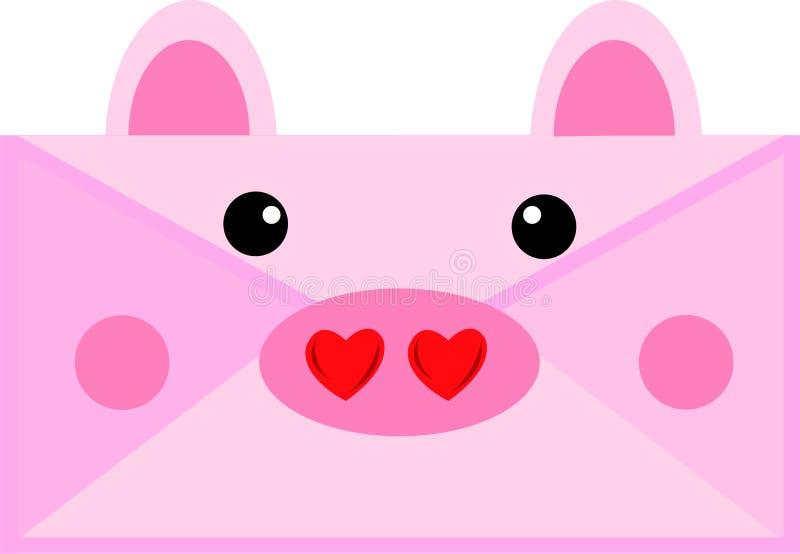 Świnie piszą list w walentynkach ilustracji