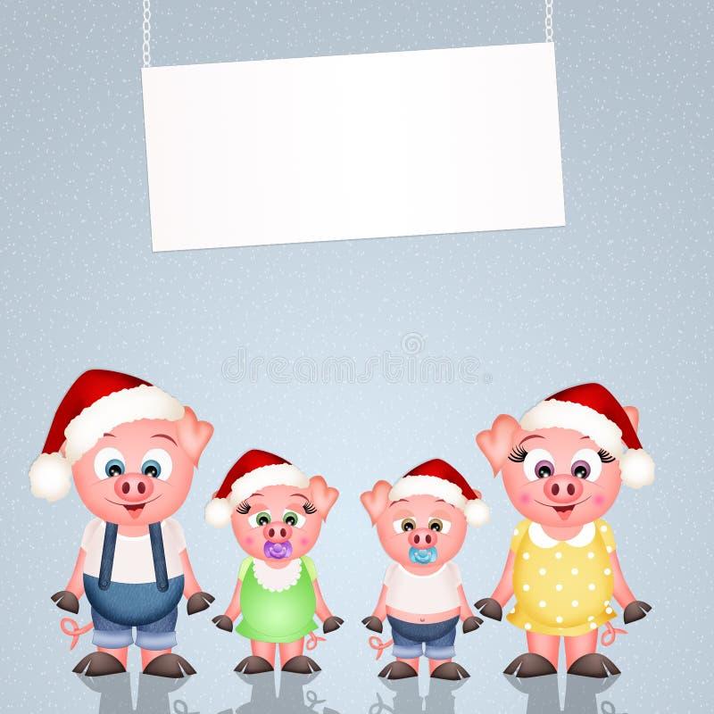 Świnie przy bożymi narodzeniami ilustracja wektor