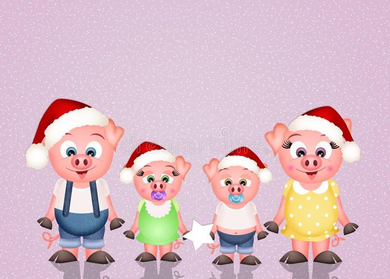 Świnie przy bożymi narodzeniami royalty ilustracja