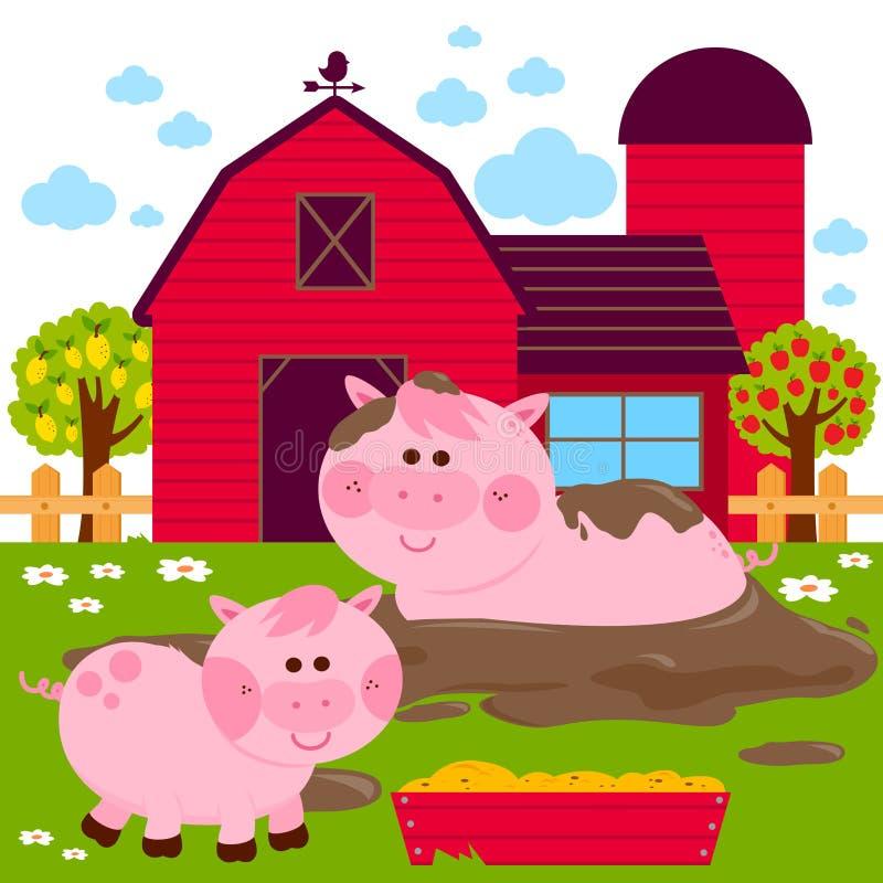 Świnie przy gospodarstwem rolnym ilustracji