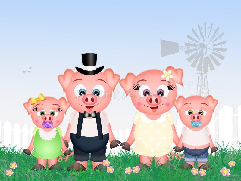 Świnie rodzinne royalty ilustracja