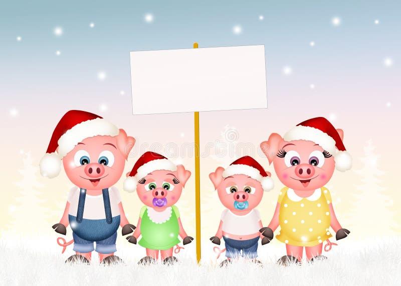 Świnie rodzinne przy bożymi narodzeniami royalty ilustracja