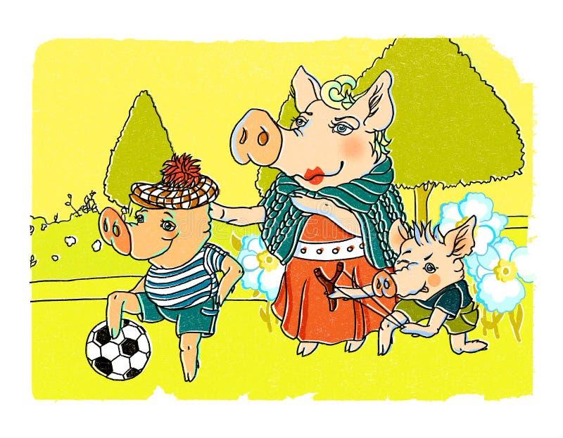 Świnie rodzinne w parkowej ilustraci royalty ilustracja