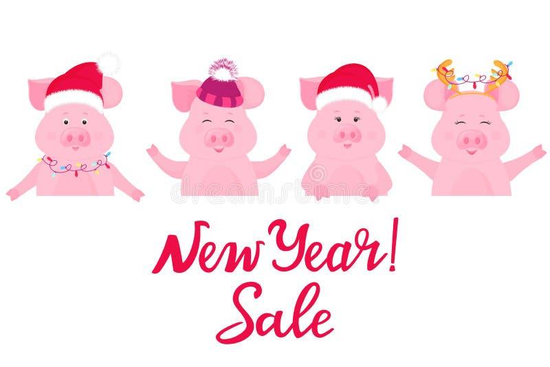 Świnie w Bożenarodzeniowego kostiumu utrzymania reklamowym sztandarze sprzedaż nowego roku Święty Mikołaj kapelusz, nakrętka z ow royalty ilustracja