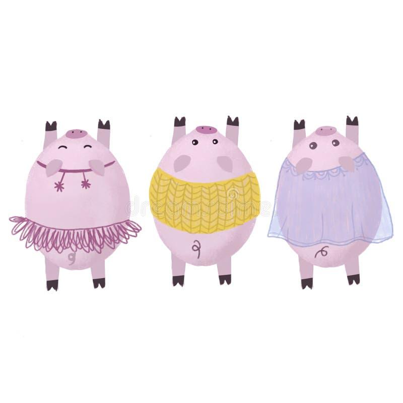 Świnie w Bożenarodzeniowych kostiumach Symbol nowy rok 2019 ilustracji