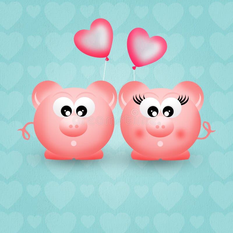 Świnie w miłości ilustracja wektor