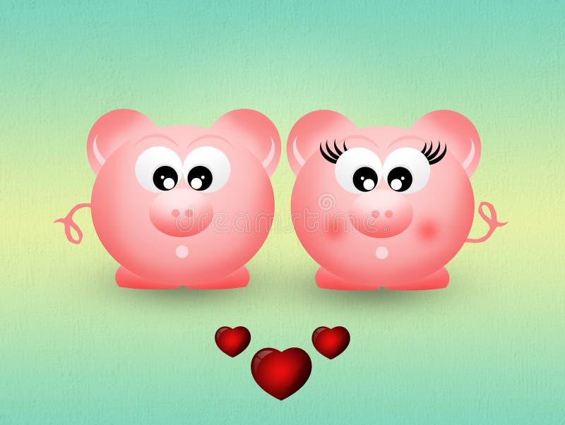 Świnie w miłości royalty ilustracja