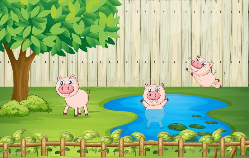 Świnie w podwórku royalty ilustracja
