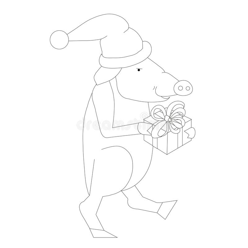 Świnie z prezentem, w kapeluszu, monochromatyczny nakreślenie zimy projekta element ilustracji