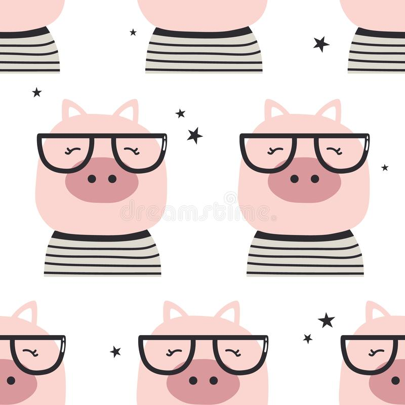 Świnie z szkłami, bezszwowy wzór royalty ilustracja